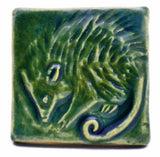 "Possum 2""x2"" Ceramic Handmade Tile - Leaf Green Glaze"