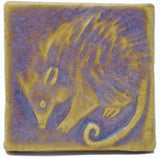"Possum 2""x2"" Ceramic Handmade Tile - Hyacinth Glaze"