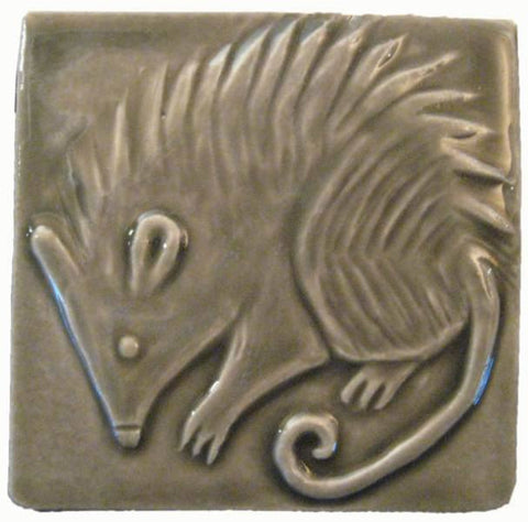 "Possum 4""x4"" Ceramic Handmade Tile - Gray Glaze"