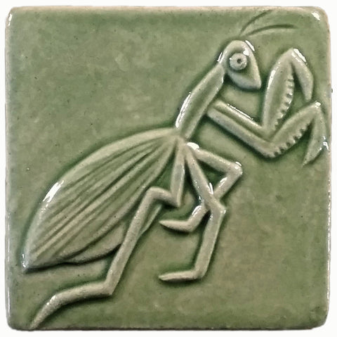 "Preying Mantis 4""x4"" Ceramic Handmade Tile - Spearmint Glaze"