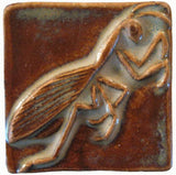 "Preying Mantis 2""x2"" Ceramic Handmade Tile - Autumn Glaze"