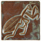 "Preying Mantis 4""x4"" Ceramic Handmade Tile - Autumn Glaze"