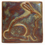 "Rabbit 4""x4"" Ceramic Handmade Tile - Autumn Glaze"