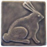 "Rabbit 4""x4"" Ceramic Handmade Tile - Gray Glaze"