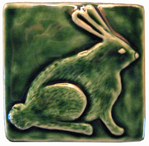 "Rabbit 4""x4"" Ceramic Handmade Tile - Leaf Green Glaze"