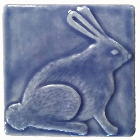 "Rabbit 4""x4"" Ceramic Handmade Tile - Watercolor Blue Glaze"