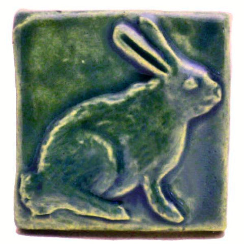 "Rabbit (facing Right) 2""x2"" Ceramic Handmade Tile - Leaf Green Glaze"