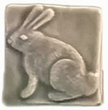 "Rabbit (facing Left) 2""x2"" Ceramic Handmade Tile - Gray Glaze"