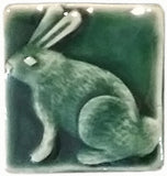 "Rabbit (facing Left) 2""x2"" Ceramic Handmade Tile - Leaf Green Glaze"