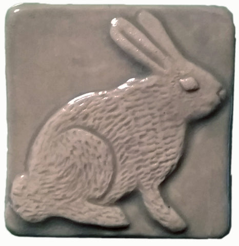 "Rabbit (facing Right) 2""x2"" Ceramic Handmade Tile - Celadon Glaze"