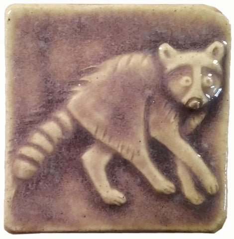 "Raccoon 2""x2"" Ceramic Handmade Tile - Hyacinth Glaze"