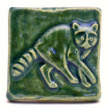 "Raccoon 2""x2"" Ceramic Handmade Tile - Leaf Green Glaze"