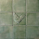 "Rooster 4""x4"" Ceramic Handmade Tile - Surrounded by field tiles Spearmint Glaze"