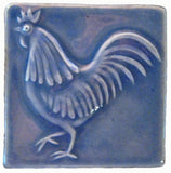 "Rooster 4""x4"" Ceramic Handmade Tile - Watercolor Blue Glaze"
