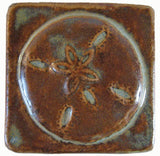 "Sand Dollar 2""x2"" Ceramic Handmade Tile - Autumn Glaze"
