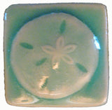 "Sand Dollar 2""x2"" Ceramic Handmade Tile - Pacific Blue Glaze"