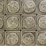"Sand Dollar 2""x2"" Ceramic Handmade Tile - Gray Glaze Grouping"