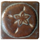 "Sand dollar 3""x3"" Ceramic Handmade Tile - autumn glaze"