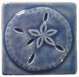 "Sand dollar 3""x3"" Ceramic Handmade Tile - watercolor blue glaze"
