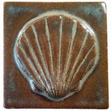 "Scallop 3""x3"" Ceramic Handmade Tile - autumn glaze"