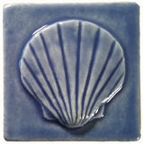 "Scallop 3""x3"" Ceramic Handmade Tile - watercolor blue glaze"