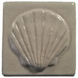 "Scallop 3""x3"" Ceramic Handmade Tile - white glaze"
