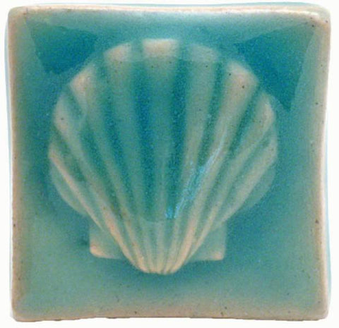 "Scallop 2""x2"" Ceramic Handmade Tile - Pacific Blue Glaze"