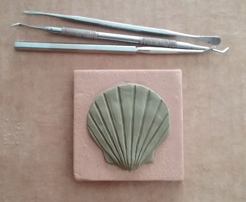 "Scallop 3""x3"" Ceramic Handmade Tile - process photo"