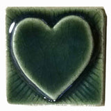 "Simple Heart 2""x2"" Ceramic Handmade Tile - Leaf Green Glaze"