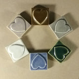 "Simple Heart 2""x2"" Ceramic Handmade Tile - Multicolor grouping"