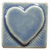 "Simple Heart 2""x2"" Ceramic Handmade Tile - Watercolor Blue Glaze"