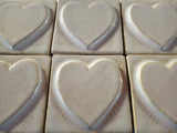 "Simple Heart 2""x2"" Ceramic Handmade Tile - white glaze grouping"
