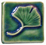 "Single Ginkgo 2""x2"" Ceramic Handmade Tile - Leaf Green Glaze"