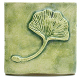 "Single Ginkgo Leaf 3""x3"" Ceramic Handmade Tile - Spearmint Glaze"