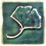 "Single Ginkgo 4""x4"" Ceramic Handmade Tile - Leaf Green Glaze"