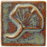 "Single Ginkgo 2""x2"" Ceramic Handmade Tile - Autumn Glaze"