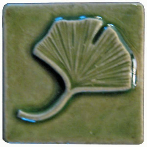 "Single Ginkgo 2""x2"" Ceramic Handmade Tile - Spearmint Glaze"
