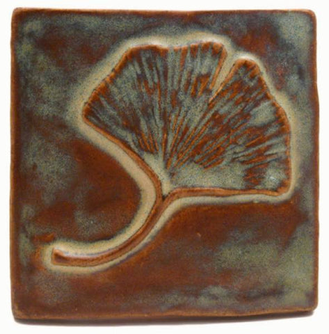 "Single Ginkgo 4""x4"" Ceramic Handmade Tile - Autumn Glaze"