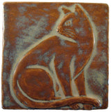 "Sitting Cat 4""x4"" Handmade Ceramic tile - Autumn Glaze"