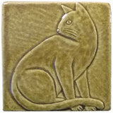 "Sitting Cat 4""x4"" Handmade Ceramic tile - Honey Glaze"