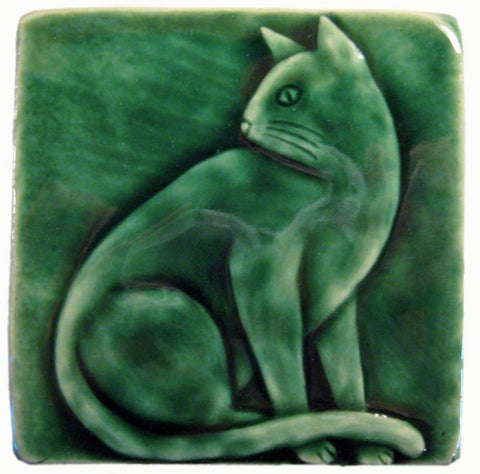 "Sitting Cat 4""x4"" Handmade Ceramic tile - Leaf Green Glaze"