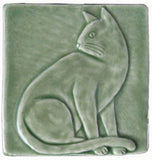 "Sitting Cat 4""x4"" Handmade Ceramic tile - Spearmint Glaze"