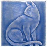 "Sitting Cat 4""x4"" Handmade Ceramic tile - Watercolor Blue Glaze"