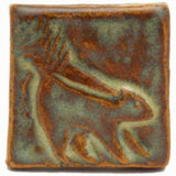 "Skunk 2""x2"" Ceramic Handmade Tile - Autumn Glaze"