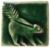 "Skunk 2""x2"" Ceramic Handmade Tile - Leaf Green Glaze"