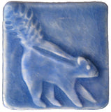 "Skunk 2""x2"" Ceramic Handmade Tile - Watercolor Blue Glaze"