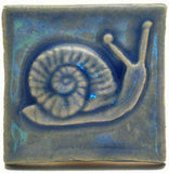 "Snail 2""x2"" Ceramic Handmade Tile - Watercolor Blue Glaze"