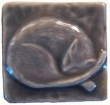"Snoozing Cat 2""x2"" Ceramic Handmade Tile - Gray Glaze"
