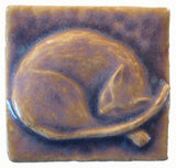 "Snoozing Cat 2""x2"" Ceramic Handmade Tile - Hyacinth Glaze"