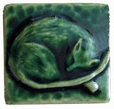 "Snoozing Cat 2""x2"" Ceramic Handmade Tile - Leaf Green Glaze"